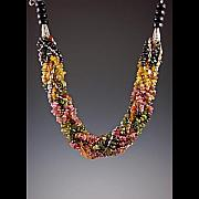 Elegant Jewelry - Braided Watermelon Tourmaline Necklace by Ella Lazkovich
