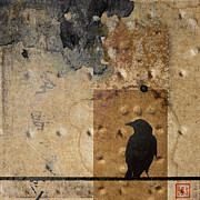Crow Collage Prints - Braille Crow Print by Carol Leigh