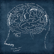 Creativity Posters - Brain drawing on chalkboard Poster by Setsiri Silapasuwanchai