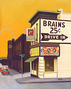 Brains Prints - Brains and Donuts Print by The Vintage Painter