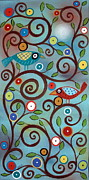 Folk Art Prints Framed Prints - Branch Birds Framed Print by Karla Gerard