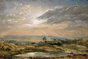 Sun  Ray Posters - Branch Hill Pond Hampstead Poster by John Constable