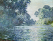 Riverside Metal Prints - Branch of the Seine near Giverny Metal Print by Claude Monet
