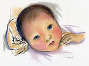 Hands Pastels Prints - Brand New Sibling Print by MM Anderson