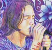 Musician Drawings Prints - Brandon Boyd Print by Joshua Morton