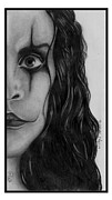  Brandon Lee Prints - Brandon Lee The Crow Original Pencil Drawing Print by Debbie Engel