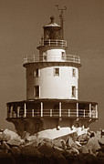 White Lighthouse Prints - Brandywine Shoal Lighthouse Print by Skip Willits