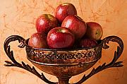 Apples Metal Prints - Brass bowl with fuji apples Metal Print by Garry Gay
