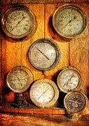 Gauges Acrylic Prints - Brass Gauge Collection Acrylic Print by Paul Ward