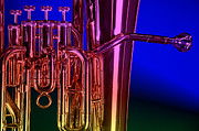Tuba Posters - Brass Instrument Tuba On Blue Poster by M K  Miller