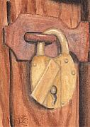 Brass Paintings - Brass Lock on Wooden Door by Ken Powers