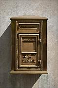 Mail Box Framed Prints - Brass Mail Box NYC Framed Print by Robert Ullmann
