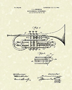 Antique Drawings - Brass Musical Instrument 1906 Patent by Prior Art Design