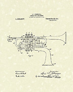 Antique Drawings - Brass Musical Instrument 1914 Patent by Prior Art Design
