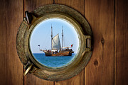 Sailboat Ocean Prints - Brass Porthole Print by Carlos Caetano