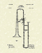 Antique Artwork Drawings Framed Prints - Brass Trombone Musical Instrument 1902 Patent Framed Print by Prior Art Design