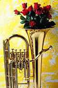 Rose Flower Photos - Brass tuba with red roses by Garry Gay
