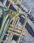 Trombone Paintings - Brass Winds and Shadow by Jenny Armitage