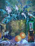 Impressionistic Wine Prints - Brass with Oranges Print by Virgilla Lammons