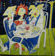 Brasserie Paintings - brasserie chartier une nuit a Paris by Manuel Martin