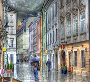 Wet Framed Prints - Bratislava Rainy Day in Old Town Framed Print by Juli Scalzi