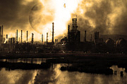 Oil Refinery Photo Posters - Brave New World - Version 1 - sepia - 7D10358 Poster by Wingsdomain Art and Photography