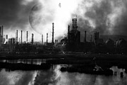 Oil Refinery Photo Posters - Brave New World - Version 2 - Black and White - 7D10358 Poster by Wingsdomain Art and Photography