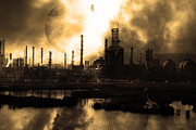 Oil Refinery Photo Posters - Brave New World - Version 2 - Sepia - 7D10358 Poster by Wingsdomain Art and Photography