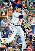 Baseball Player Mixed Media Framed Prints - Braves Batter 2 Framed Print by Michael Lee