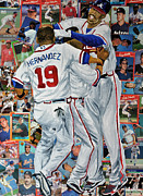 Baseball Player Painting Framed Prints - Braves Celebrate Framed Print by Michael Lee