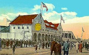 Baseball Stadiums Paintings - Braves Field In Boston Ma In 1917 by Dwight Goss