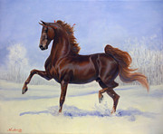 Show Horse Paintings - Bravo Blue by Jeanne Newton Schoborg