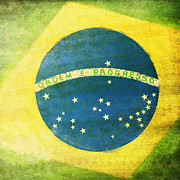 Weathered Digital Art Prints - Brazil flag Print by Setsiri Silapasuwanchai