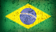 Brazil Flag Vintage Print by Jane Rix