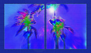 Getaway Mixed Media Posters - Brazilian Tropical Moonlight Diptych Poster by Steve Ohlsen