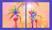 Palms Mixed Media Acrylic Prints - Brazilian Tropical Sunset Diptych Acrylic Print by Steve Ohlsen