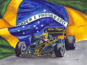 Races Paintings - Brazils Ayrton Senna by Clara Sue Beym