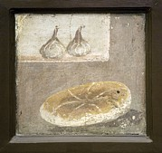 Loaf Of Bread Photo Prints - Bread And Figs, Roman Fresco Print by Sheila Terry