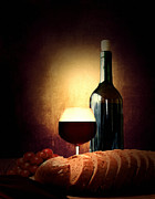 Red Wine Bottle Posters - Bread and wine Poster by Lourry Legarde