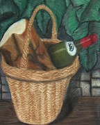 Basket Pastels Posters - Bread and Wine Poster by Michael Knight