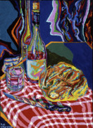 Wine Bottle Paintings - Bread and Wine of Life by Robert  SORENSEN