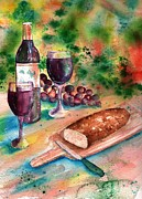 Wine Glasses Paintings - Bread and Wine by Sharon Mick