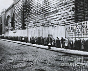 Soup Framed Prints - Bread Line Beside The Brooklyn Bridge Framed Print by Photo Researchers