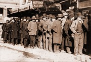 Hunger Framed Prints - Bread Line Of Men On New York Citys Framed Print by Everett