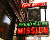 Bread Line Prints - Bread Of Life Mission Sign Print by Kym Backland