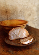 Sliced Prints - Bread on Rustic Plate and Table Print by Jill Battaglia