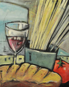 Italian Wine Painting Originals - Bread Pasta Wine by Tim Nyberg