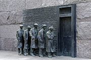 Franklin Delano Framed Prints - Breadline at the FDR Memorial - Washington DC Framed Print by Brendan Reals