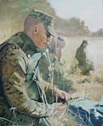 Marines Painting Originals - Break in Training by Amanda Harper Schwartz