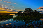 Lowcountry Digital Art Prints - Break of Dawn over Low Country Marsh Print by Mike Savlen
